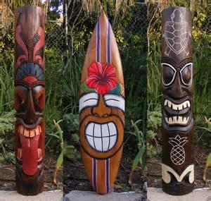 hawaiian tiki package deal wood wall mask patio tropical