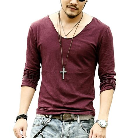 Fashion Mens T Shirt v neck casual mens sleeve tshirt