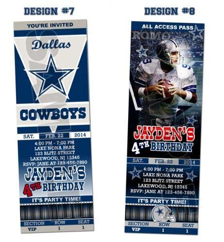 printable nfl tickets dallas cowboys ticket birthday party invitations