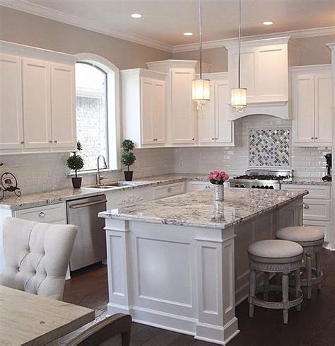 Backsplash For Kitchen With White Cabinet by White Cabinets Grey Granite White Subway Backsplash