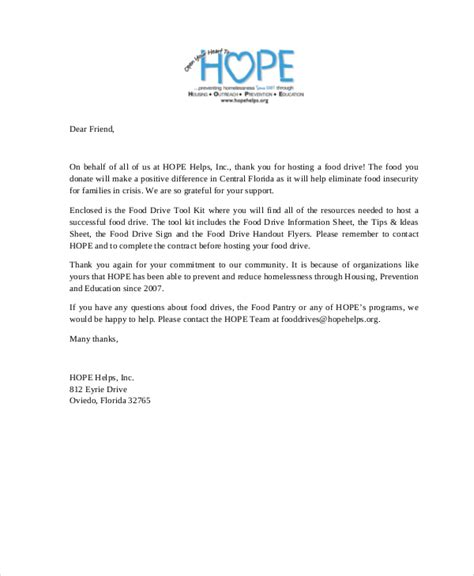 Thank You Letter For Donation To Food Pantry 9 Thank You Letters For Donation Free Sle Exle Format Free Premium Templates