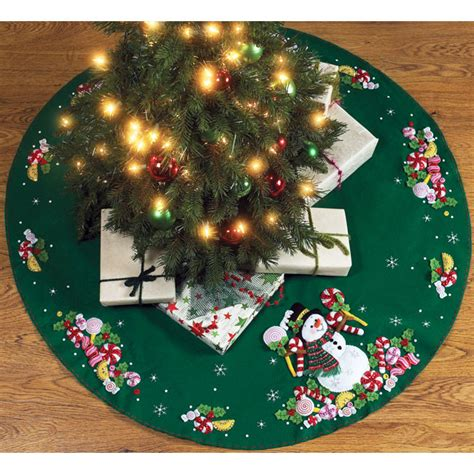 candy snowman felt christmas tree skirt kit felt