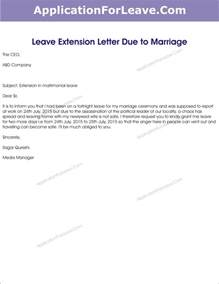Leave Request Letter Sle To Manager Marriage Leave Extension Letter