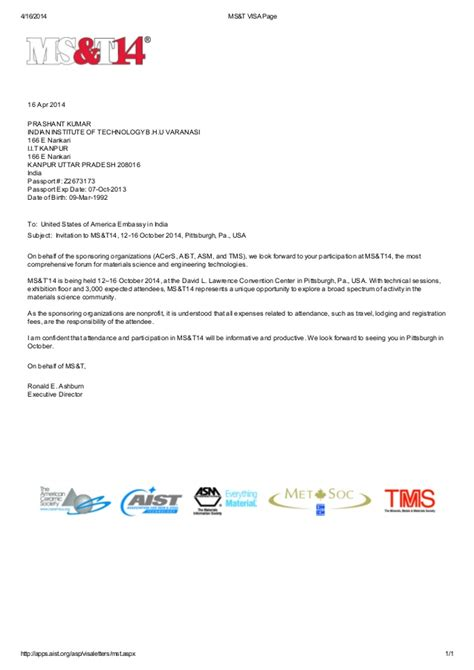 Conference Invitation Letter For Us Visa Ms T Meeting Invitation Letter