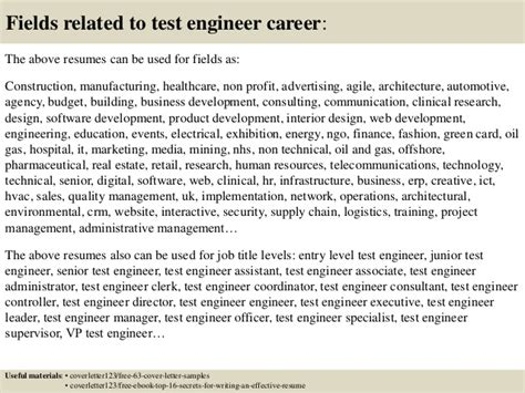 Test Engineer Cover Letter by Top 5 Test Engineer Cover Letter Sles