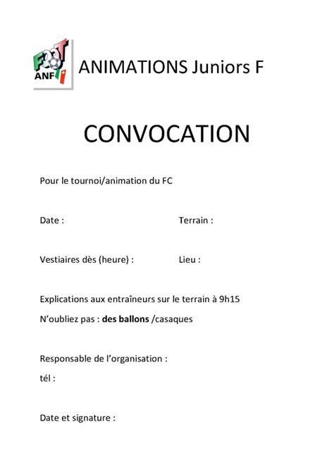 Association neuchâteloise de football - Formulaire Convocation