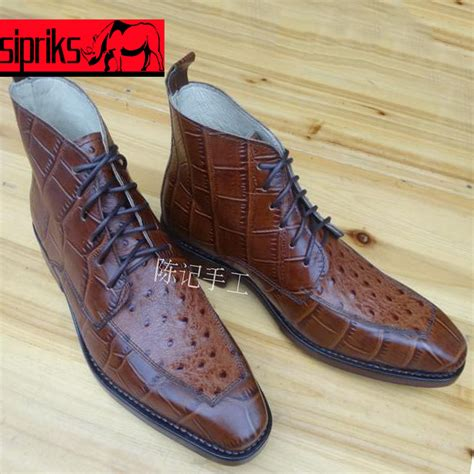 Leather Shoes Handmade - sipriks luxury mens goodyear welted boots embossed leather
