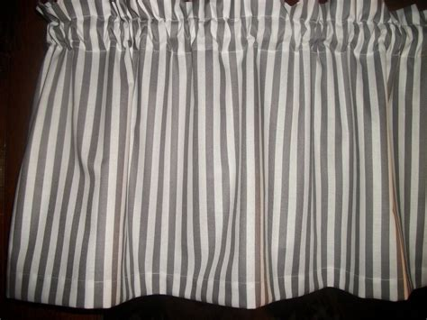 gray valance curtain gray white striped stripes stripe fabric window topper