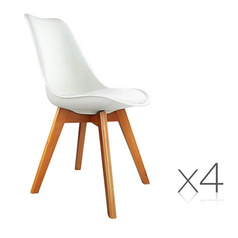 Dining Chairs 4 Set Of 4 Dining Chair Pu White Deals Australia
