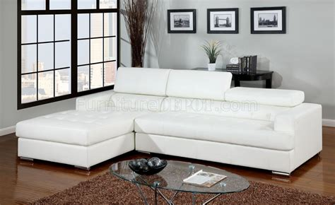 Floria Sectional Sofa Cm6122wh In White Bonded Leather Match