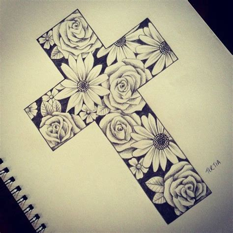 tattoo flower cross done by tertia starr tattoostage com rate review your