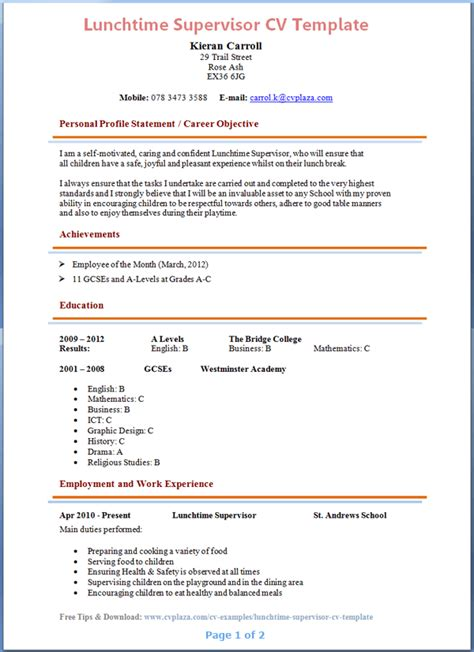 lunchtime supervisor cv template image collections