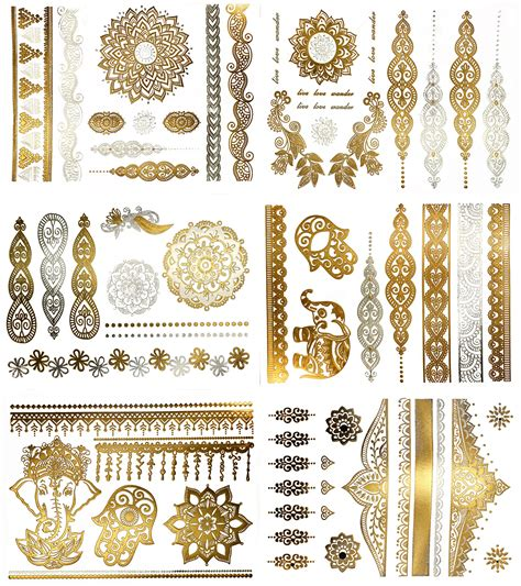 gold and silver tattoos premium henna metallic tattoos gold and