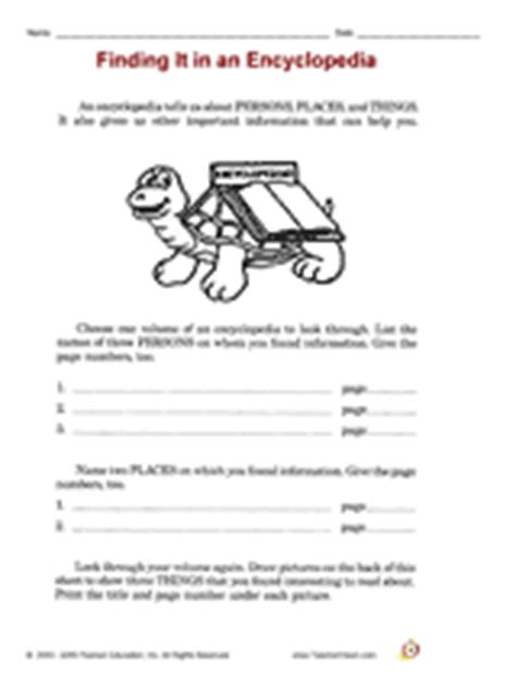 reference books library lessons finding it in an encyclopedia printable 3rd grade