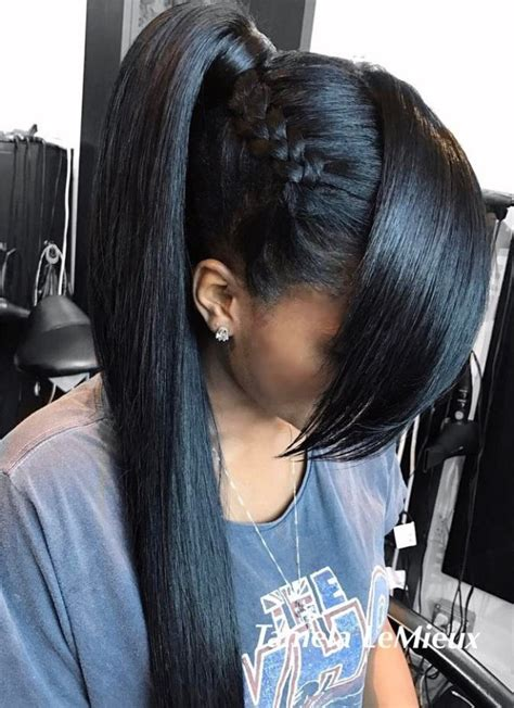 braids with a weave bang 30 classy black ponytail hairstyles ponytail black