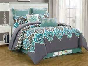 8p damask fleur de lis comforter set silver