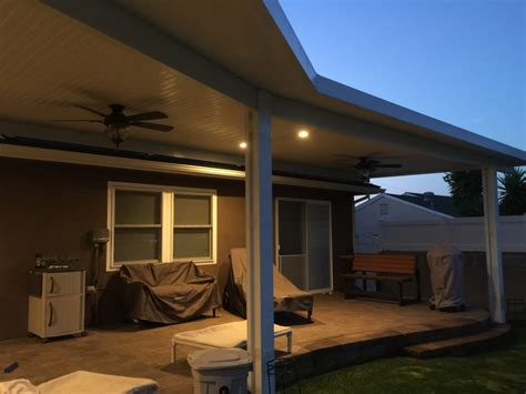 Patio Cover Lighting Alumawood Patio Cover With Recessed Lighting And Ceiling Fans Work By Coxco Builders Yelp