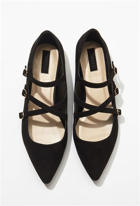 Strappy Flats forever 21 faux suede strappy flats in black lyst
