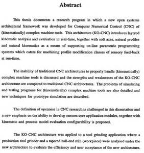 Example Of Thesis Abstract Phd Glenn Brien Kinematically Open Cnc