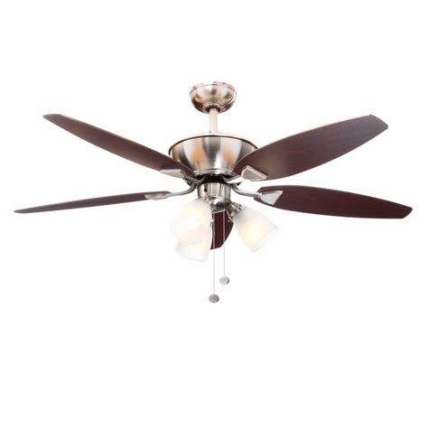 brushed nickel ceiling fan light kit hton bay carrolton 52 in indoor brushed nickel ceiling