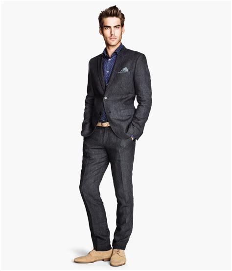 h m linen suit trousers in gray for lyst