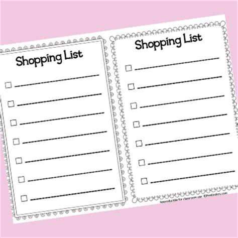 preschool shopping list printable pretend play writing printables prekinders