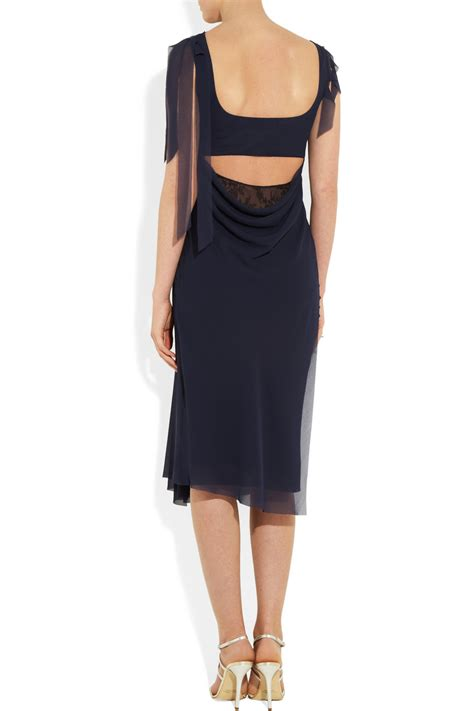 Dress Murah Dress Ricci Navy lyst ricci lace paneled chiffon dress in blue