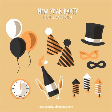 new year graphic vector free new year element collection in brown vector graphic