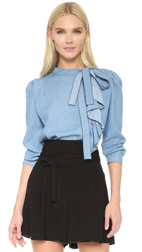 Blouse Ruffle marc ruffle blouse in blue lyst