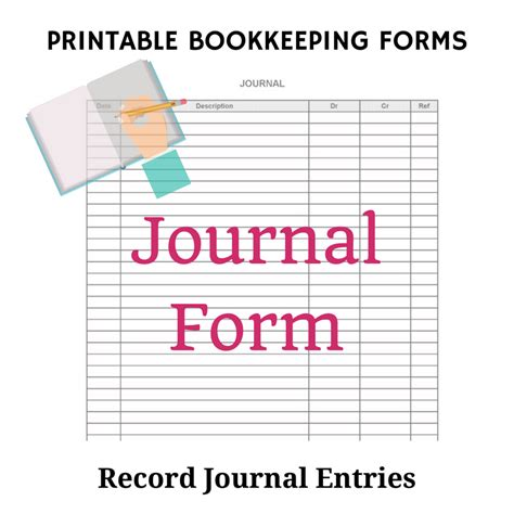 printable check journal bookkeeping journals