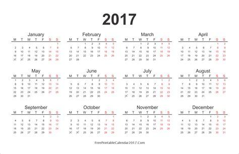 Calendar Of The Year 2017 Yearly Calendar 2017 Monthly Calendar 2017