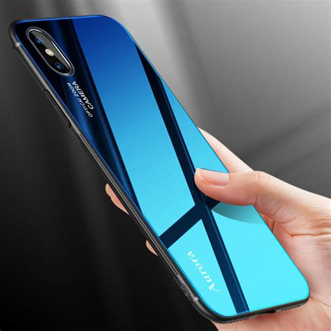bakeey gradient color aurora blue ray tempered glass soft