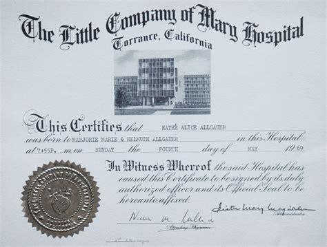 Hospital Birth Record Kathe Allgauer Information