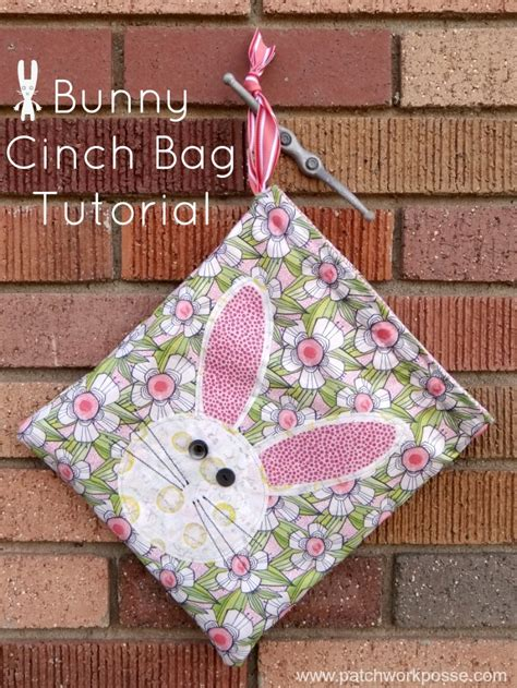 Patchwork Rabbit Pattern - bunny cinch bag tutorial