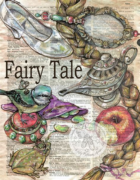 tattoo paper staples uk fairy tale drawing on distressed dictionary page prints