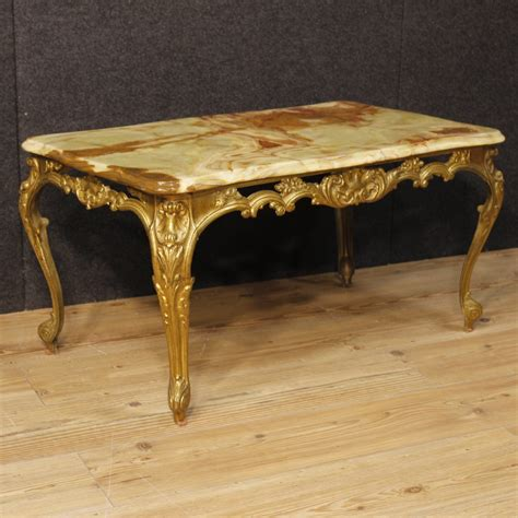 Italian Coffee Table Italian Coffee Table In Gold Metal With Onyx Top