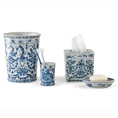 porcelain bathroom accessories sets blue white bath accessories gump s