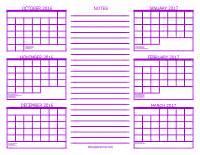 Six Month Calendar Template by 6 Month Calendar 2016