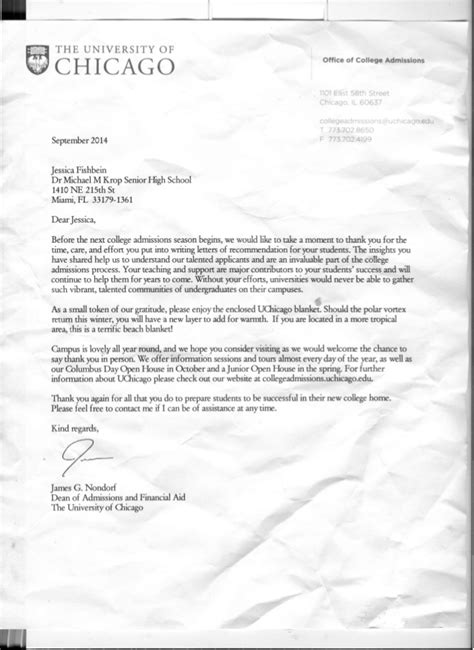 Acceptance Letter To Of Chicago letter from of chicago recommendations