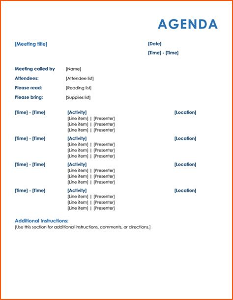 4 meeting itinerary template bookletemplate org