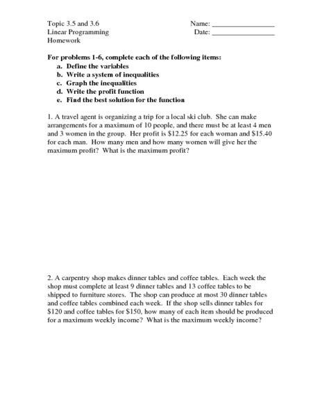 Linear Programming Worksheet by Worksheet Linear Programming Worksheet Caytailoc Free