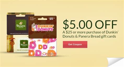 Panera Gift Cards At Walmart - 5 00 off 25 00 dunkin donuts or panera gift card ftm
