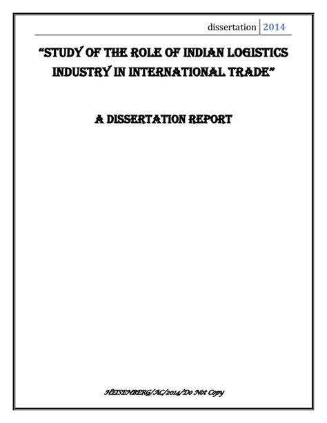 international trade dissertation topics of indian logistics industry in international trade
