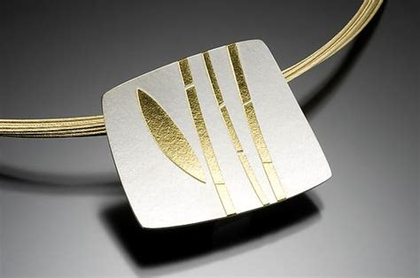 Bamboo Pendant L by Bamboo Pendant By Tom Mcgurrin Silver Gold Necklace
