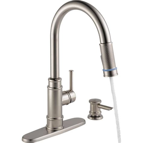 delta kitchen faucet with sprayer 2018 delta lakeview single handle pull sprayer kitchen faucet with soap dispenser in stainless