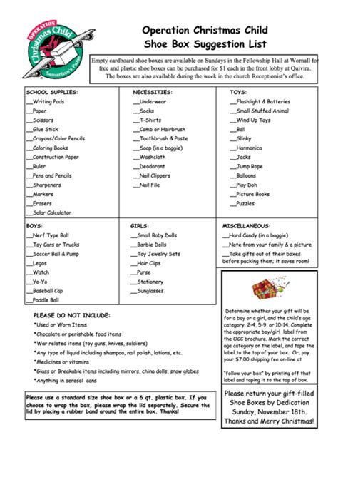 Operation Christmas Child Shoe Box Suggestion List Printable Pdf Download Operation Child Letter Template