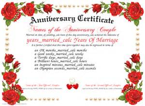 Anniversary Certificate Template by Doc Anniversary Certificate Template Precious Wedding