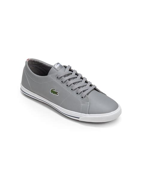 lacoste leather sneakers lyst lacoste boys leather sneakers in gray for