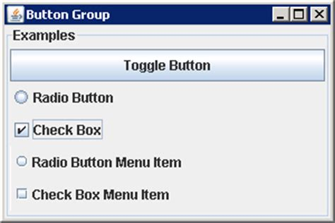 tutorial java button using buttongroup to group buttons buttongroup 171 swing