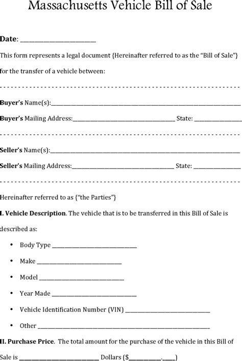 the massachusetts rmv bill of sale can help you make a